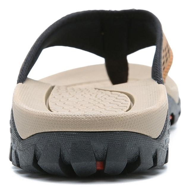Merkmak 2019 Summer Men Shoes Mens Flip Flops Trendy Anti-slip Leather Casual Shoes Classic Massage Beach Slippers Big size 46 5