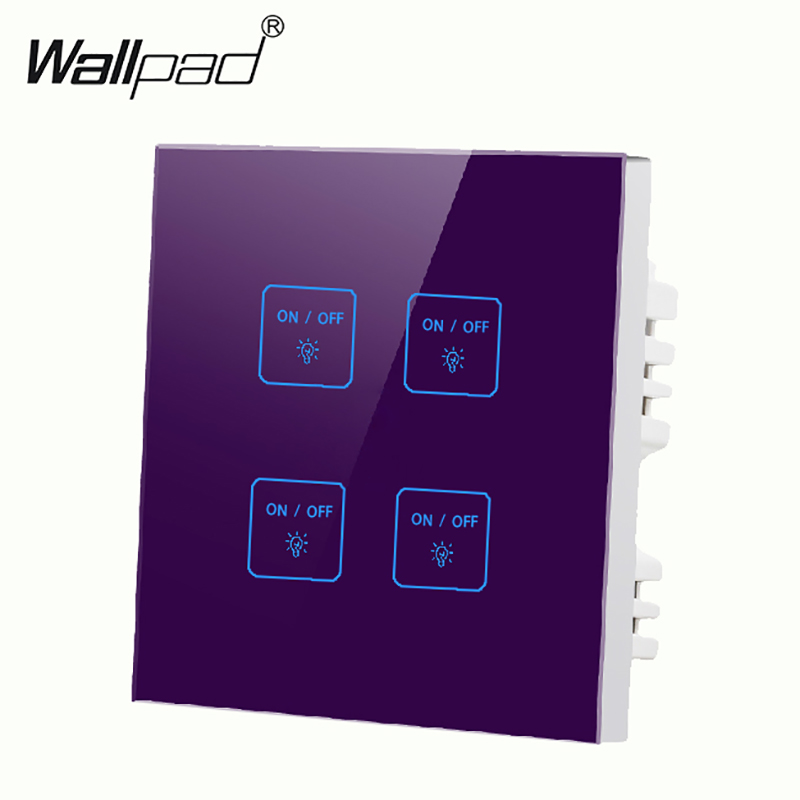 Hot Selling Tempered Glass Touch Light Wall Switch 4 Gangs