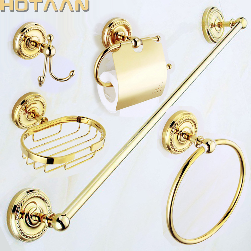 Free shipping,solid brass GOLD Bathroom Accessories Set,Robe hook,Paper Holder,Towel Bar,Soap basket,bathroom sets,YT-12200G-5 leyden towel bar towel ring robe hook toilet paper holder wall mounted bath hardware sets stainless steel bathroom accessories