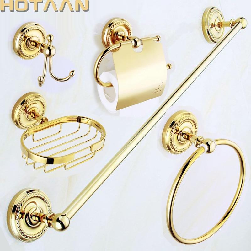 Free shipping,solid brass GOLD Bathroom Accessories Set,Robe hook,Paper Holder,Towel Bar,Soap basket,bathroom sets,YT-12200G-5