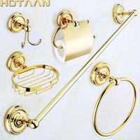 Free shipping,solid brass GOLD Bathroom Accessories Set,Robe hook,Paper Holder,Towel Bar,Soap basket,bathroom sets,YT 12200G 5