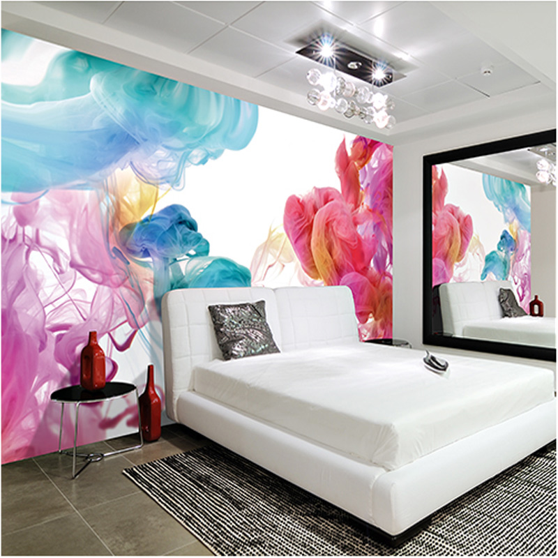 Custom creative art wallpaper 3d colorful smoke clouds photo mural modern home decor bedroom living room non woven wallpaper 3 d in wallpapers from home