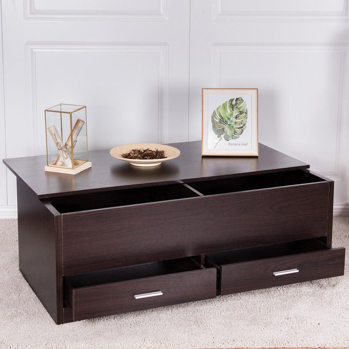 Giantex слайд-топ Кофе стол с Скрытая отделение и 2 ящиками современные деревянные Гостиная мебель HW56637 ...