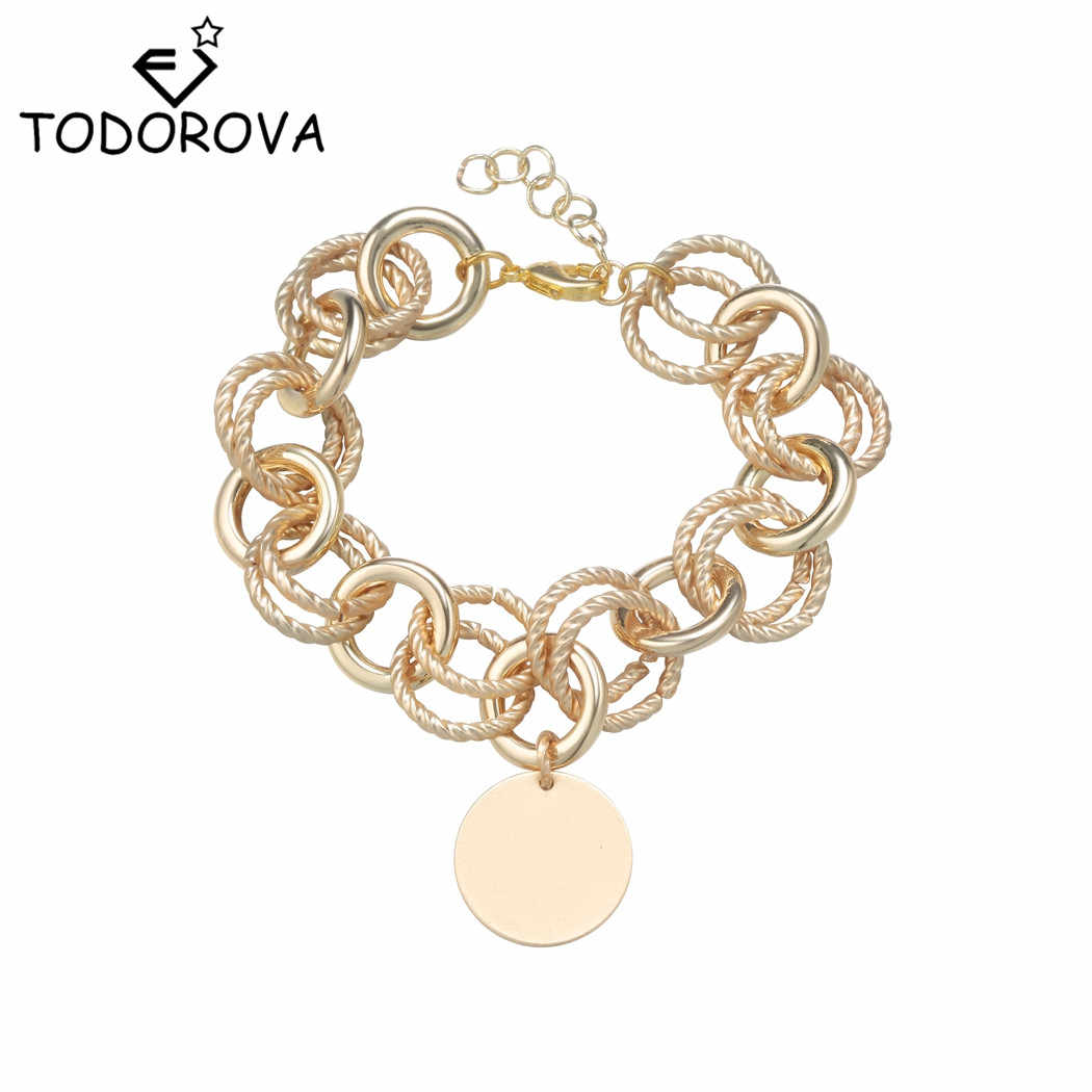 Todorova Circle Pendant Link Chain Bracelet & Bangles for Women Geometric Round Bracelet Female Jewelry