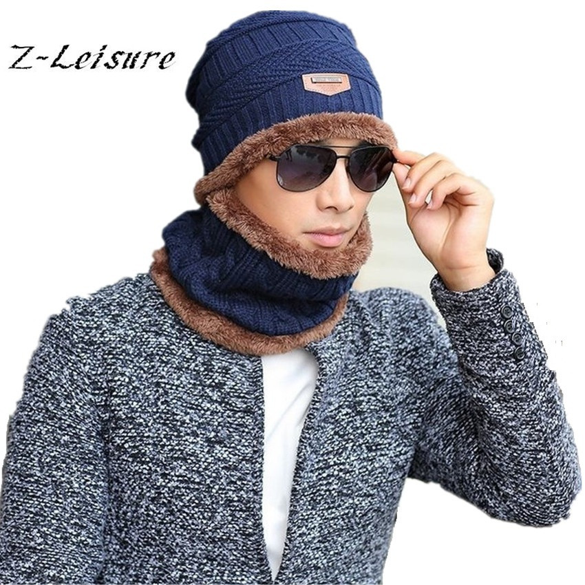 2016 Brand Beanies Knit Men's Winter Hat Caps Skullies Bonnet Winter Hats For Men Beanie Warm Baggy  Knitted Hat and Scarf KC017 brand skullies winter hats for men bonnet beanies knitted winter hat caps beanie warm baggy cap gorros touca hat 2016 kc010