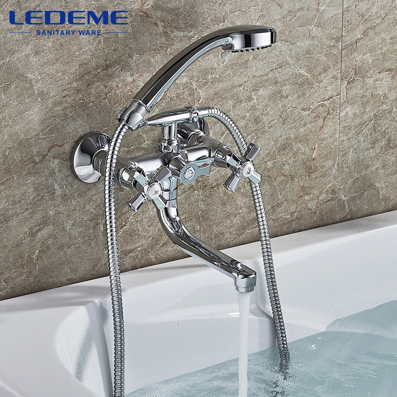 LEDEME Shower Faucet New Chrome Wall Mounted Waterfall Bathtub Faucet Set With Hose Brass Shower Head Shower Faucet L3190 sognare new wall mounted bathroom bath shower faucet with handheld shower head chrome finish shower faucet set mixer tap d5205