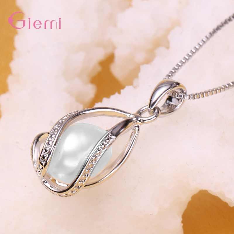 Top Verkauf Hochzeit Schmuck Sets 925 Sterling Silber Perle Wasser Tropfen Träne Anhänger Halskette Hoop Ohrringe Kaufen 1 Erhalten 2 geschenke