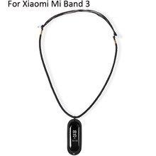 7d14b58cdac7 Сменный ремешок для Xiaomi Mi Band 3 DIY вязаное ожерелье с резиновая  подвеска держатель чехол для Xiaomi Mi Band 3 Аксессуары