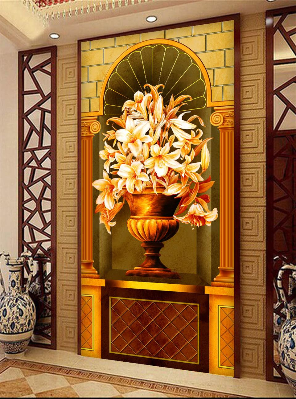 Custom 3d photo wallpaper porch room mural European arch rome column flowers oil painting sofa background wall non-woven sticker  free shipping 3d stereo angel rome column fantasy wallpaper mural custom dining room children room background wallpaper