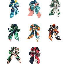 Xugar Hair Accessories Chiffon Streamers Bow-knot Women Scrunchies Elastic Printed Rope Rubber Ponytail Holder Tie