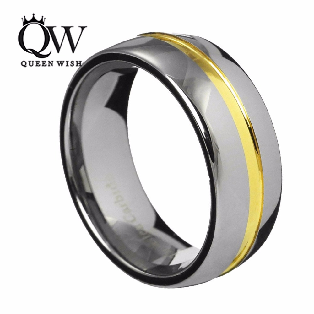 Queenwish 8mm Dome Tungsten Carbide Two Tone Wedding Ring Engagemen Band 24k GoldPlated Center Groove With