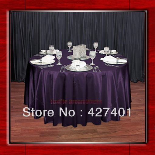 Hot Sale Plum Shaped Poly Satin Table Cloth Wedding Meeting Party Round  Tablecloths/Table Linen