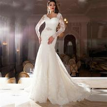 2016 Sexy vestido de noiva Open Back Wedding Dresses Mermaid Long Sleeve Lace Vintage White Ivory Wedding Bridal Gown Custom