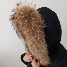 70*15 длинный женский зимний шарф из меха енота с застежкой