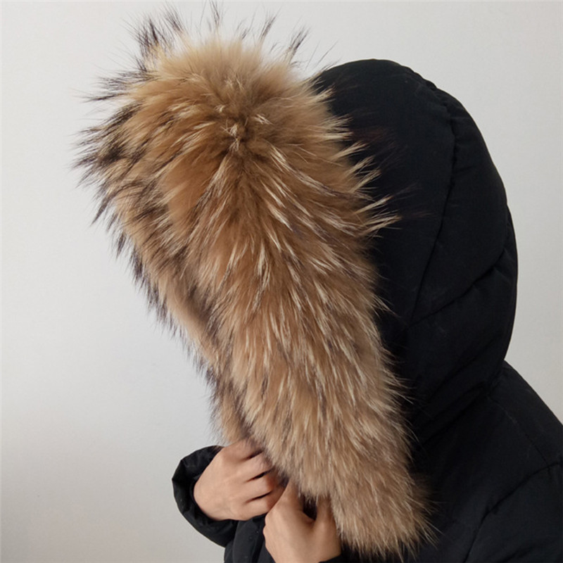 70*15 Longth Real Fur Collar Woman Winter 100% Raccoon  Fur Scarf Collar With Fastener