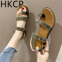 HKCP 2019 summer Korean version of the new sandals womens fashion sets flat-bottomed rhinestone women C263