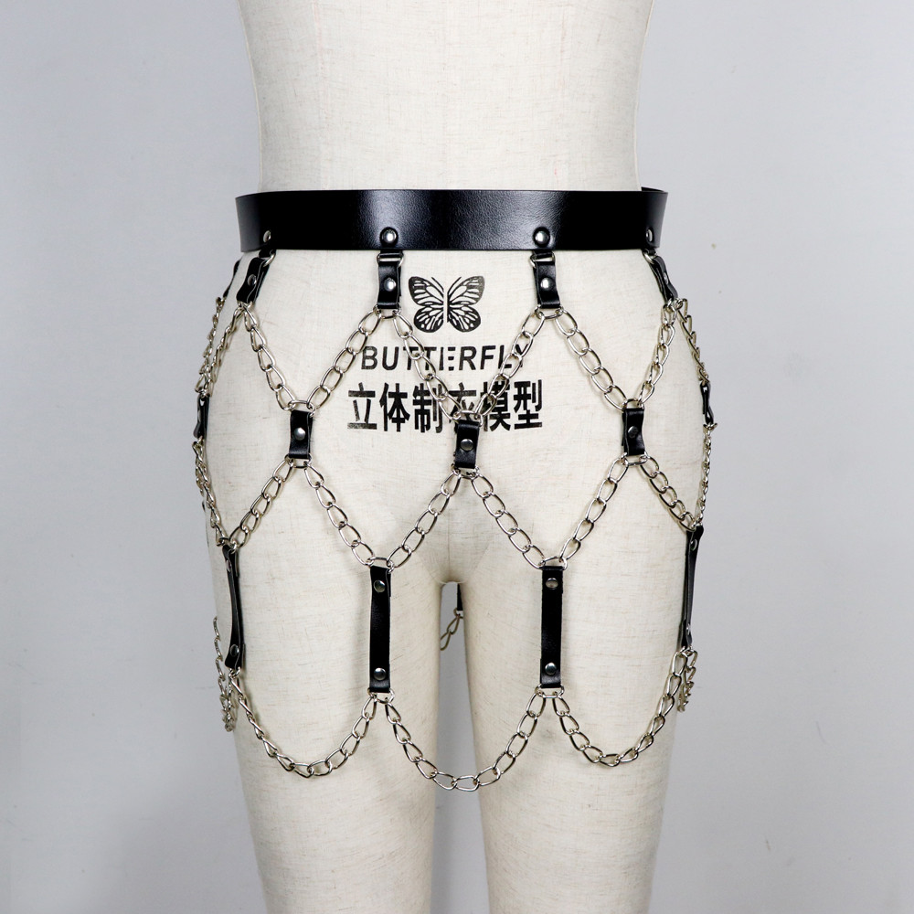 Image 2 - UYEE 2018 New Sexy Pub Female Leather Skirt Belts Punk Gothic Rock Harness Waist With Chain Body Bondage Hollow Belt LD 014-in Men's Belts from Apparel Accessories
