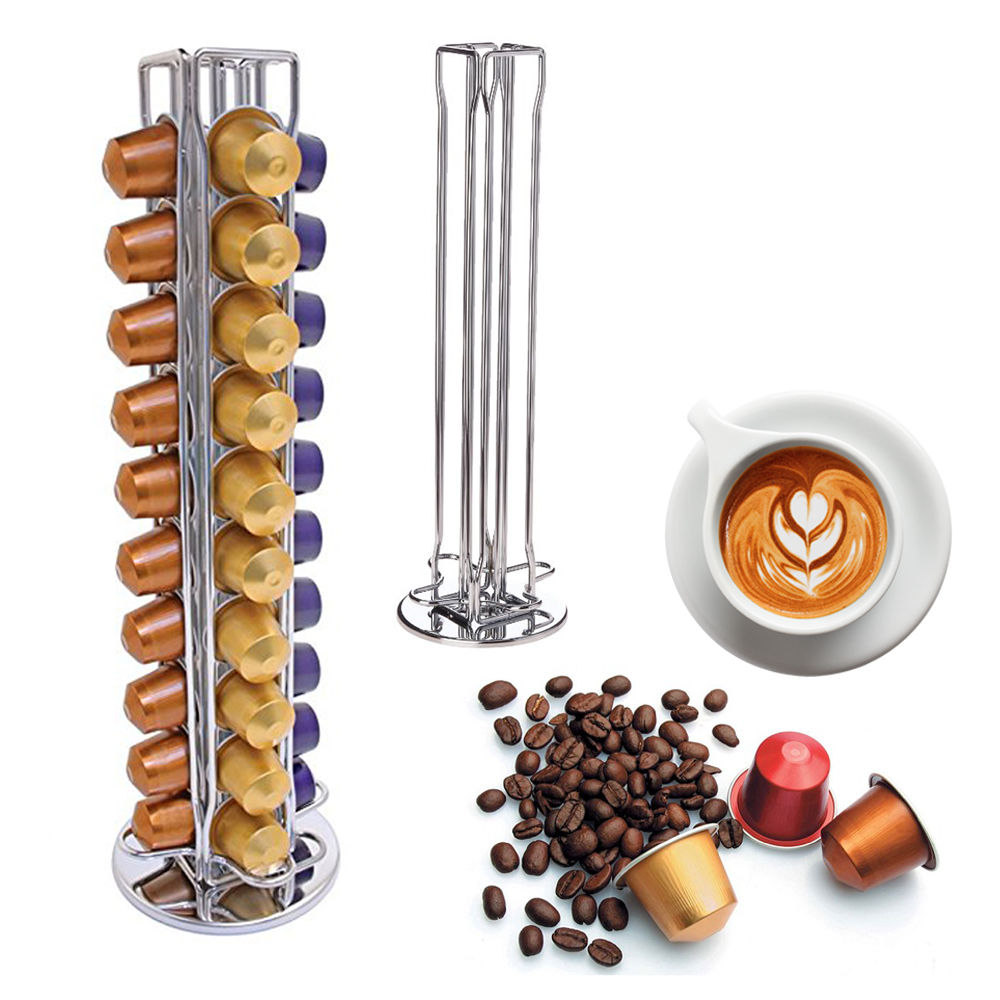 Storage Nespresso 40/44 Coffee Capsules Pod Holder Stand Kitchen Table Metal Revolving Shelf Dispaly Metal Rack Free Shipping