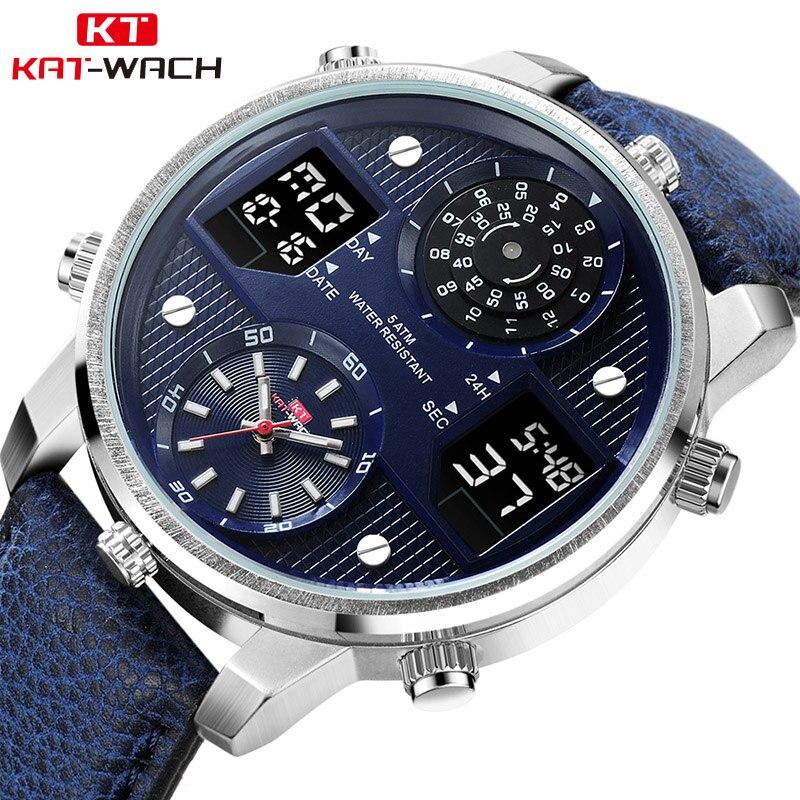 Digital Men's Chronograph Analog Quartz Watch 50M Waterproof Silicone Leather Strap Wristwatch