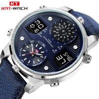 Top Brand Digital Men's Watch Men Chronograph Analog Quartz Business Watch 50m Waterproof Silicone Leather Strap Wristwatch