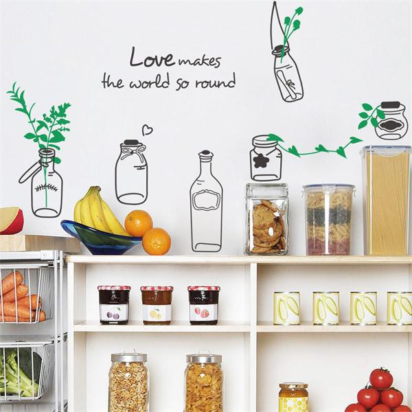 Hot Sale Love Creative Drift Bottles Flowers Wall Stickers Living Room Kitchen Restaurant DIY Removable