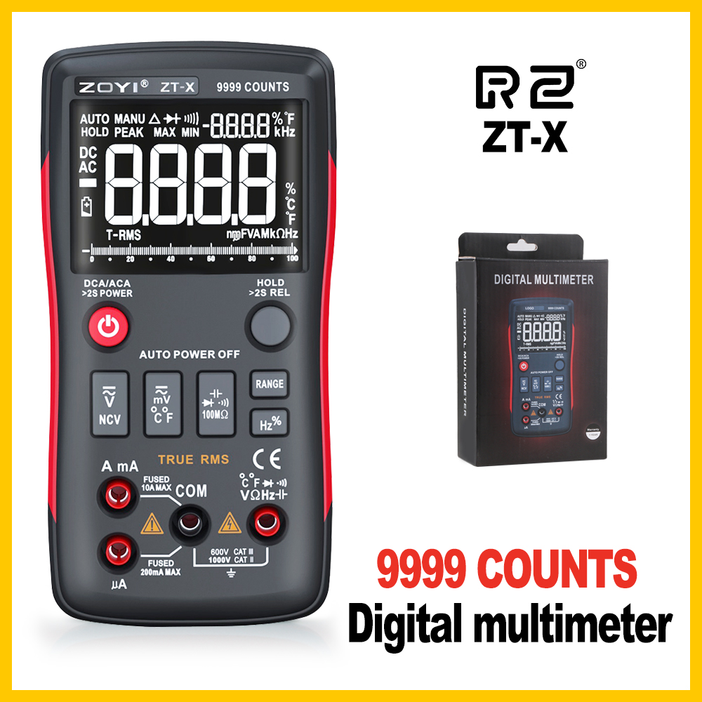 True RMS Digital Multimeter 9999 Counts With Analog Bar Graph Auto Range Mastech Transistor Battery Tester ZT X