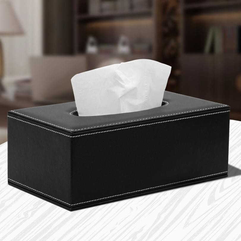 Black Faux Leather Home Car Napkin Paper Facial Tissue Storage Box Case Holder