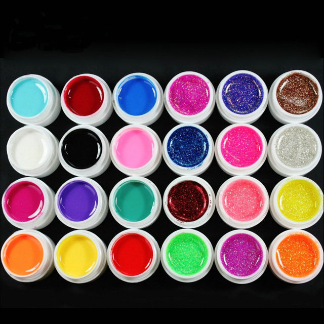 Professional 24 Colors Solid Nail UV Gel Polish & Big Glitter Colored UV Gel Tips Nail Tools for Manicure #NP135
