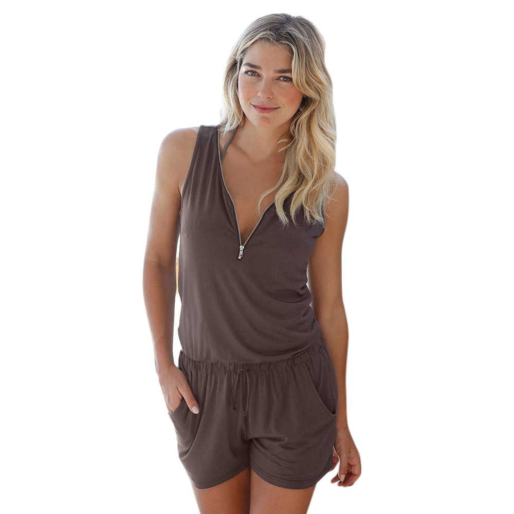 Jumpsuit Holiday Beach Rompers V-Neck Solid-Color Womens Summer Ladies Zippered Casual title=