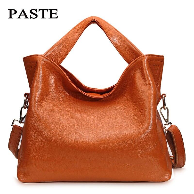 PASTE Genuine Leather Handbags Women Totes Luxury Brand Designer Handbag Lady Simple Crossbody Messenger Bags Large Capacity