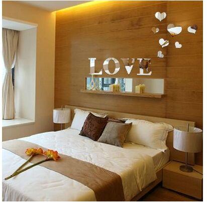 d nuevo creativo efecto espejo de acrlico de plata carta de amor applique j espejo dormitorio