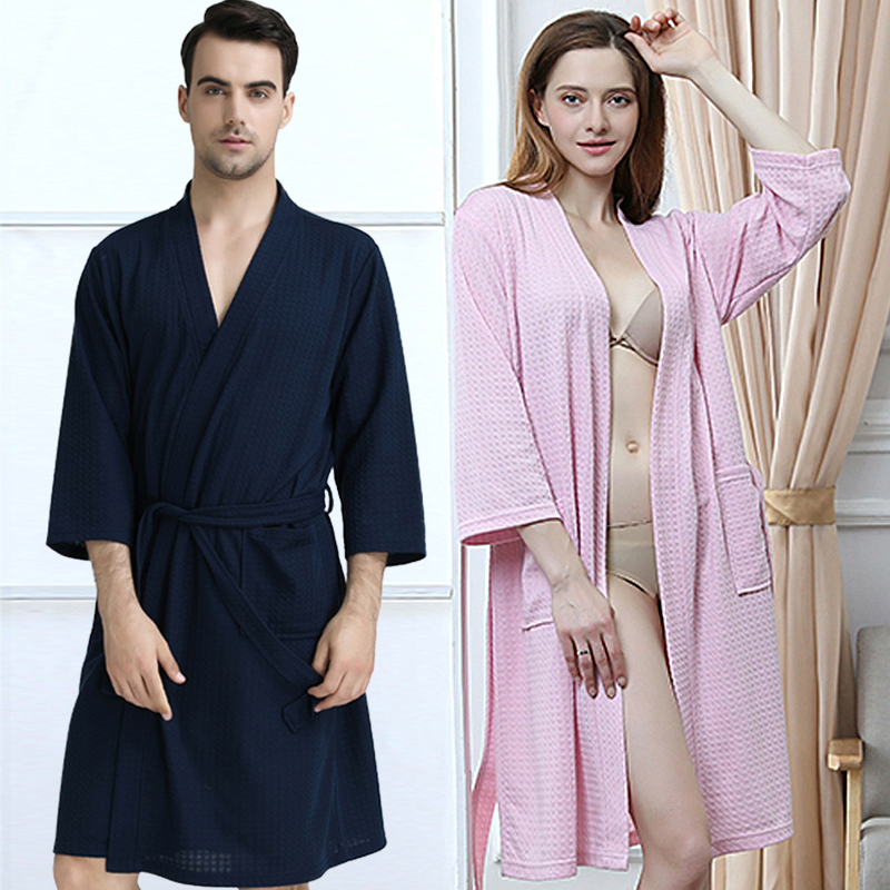 Men Women Summer Kimono Bath Robe Suck Water Mens Dressing Gown Sexy Knitted Waffle Spa Robes Male Solid Bathrobe Peignoir Homme