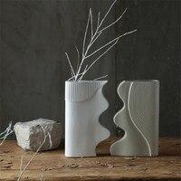 Nordic современный Черный и белый цвета мозаичный, керамический ваза цветочный набор фигурками домашнего декора ремесла фарфоровые Цветочная