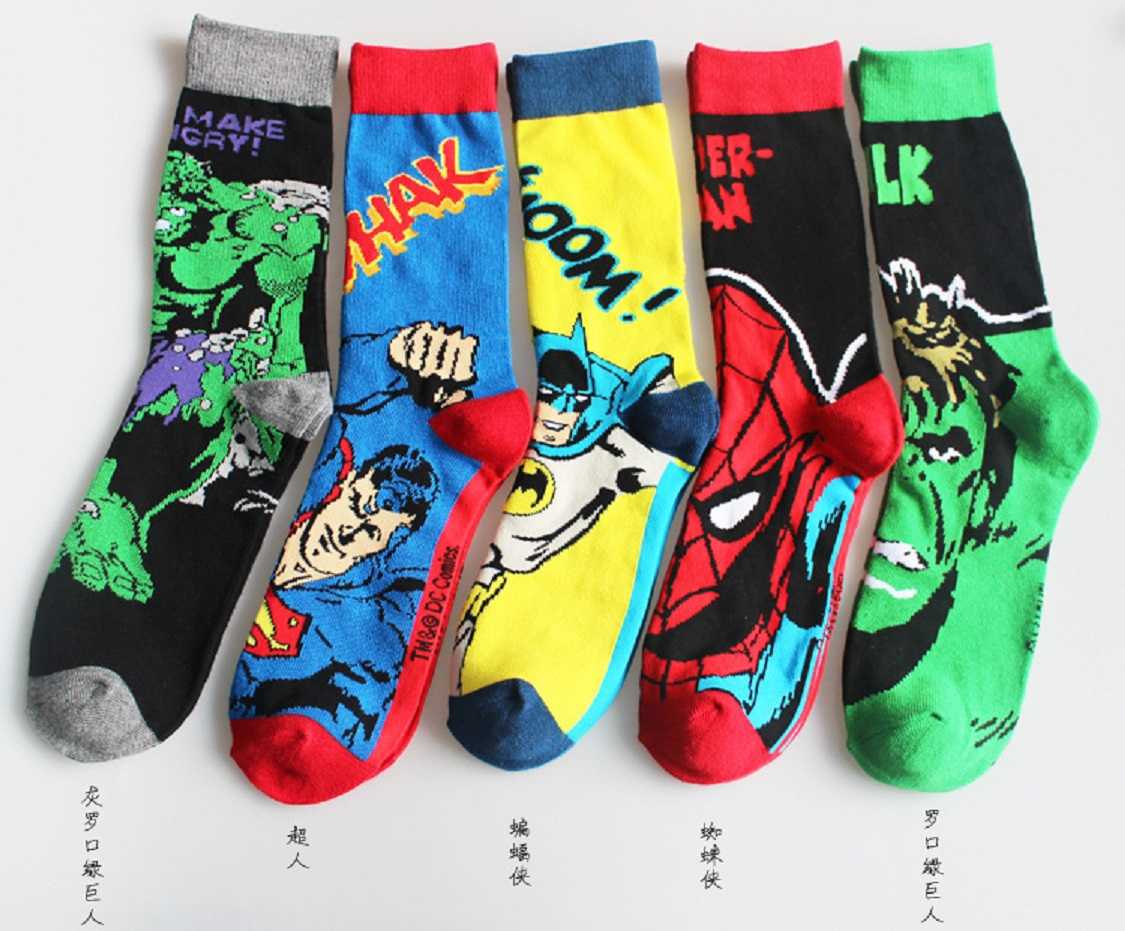 1 pairs/lot Hot Superman Batman Captain America cartoon odd future happy socks character pattern Superheroes happy socks
