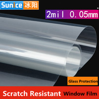 SUNICE Self Adhesive 0.05mm/2mil Safety Window Film Clear Glass Protector Security Window Film kitchen Bulding Home 1.83*20m