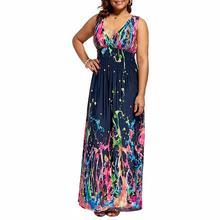 2019 New Yfashion Women Fashion Sexy V-neck Chic Printing Long Dress Large Size
