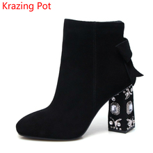 Fashion Winter Shoes Cow Suede Square Toe Bowtie Thick Diamond High Heel Solid Women Ankle Boots Pearl Runway Chelsea Boots L13