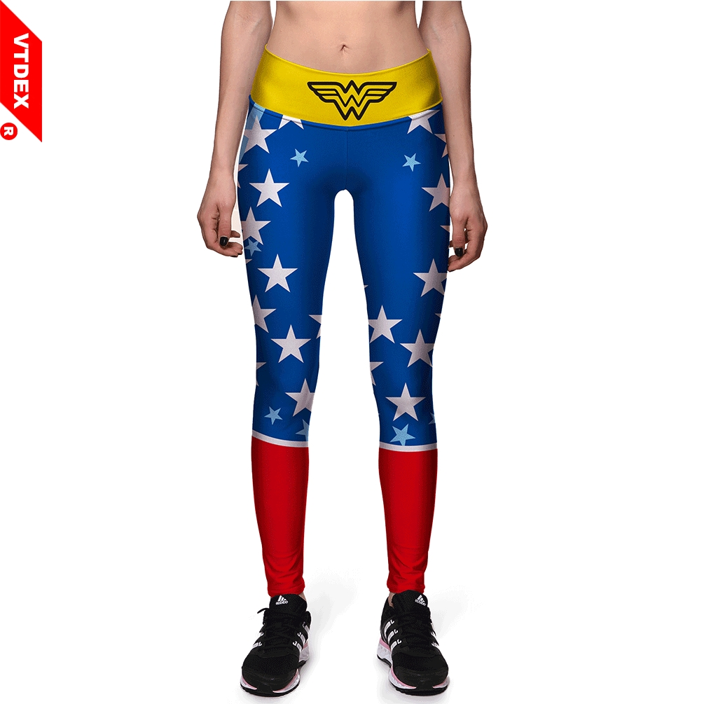 VTDDEX Women Skinny Yoga Pants Marvel Wonder Women Pattern Sports Fitness Leggings American Breathable Workout GYM Pants