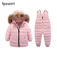 25 Degree Russia Winter Boys Down Suit Clothing Sets For Ski Suit Girl Down Jacket