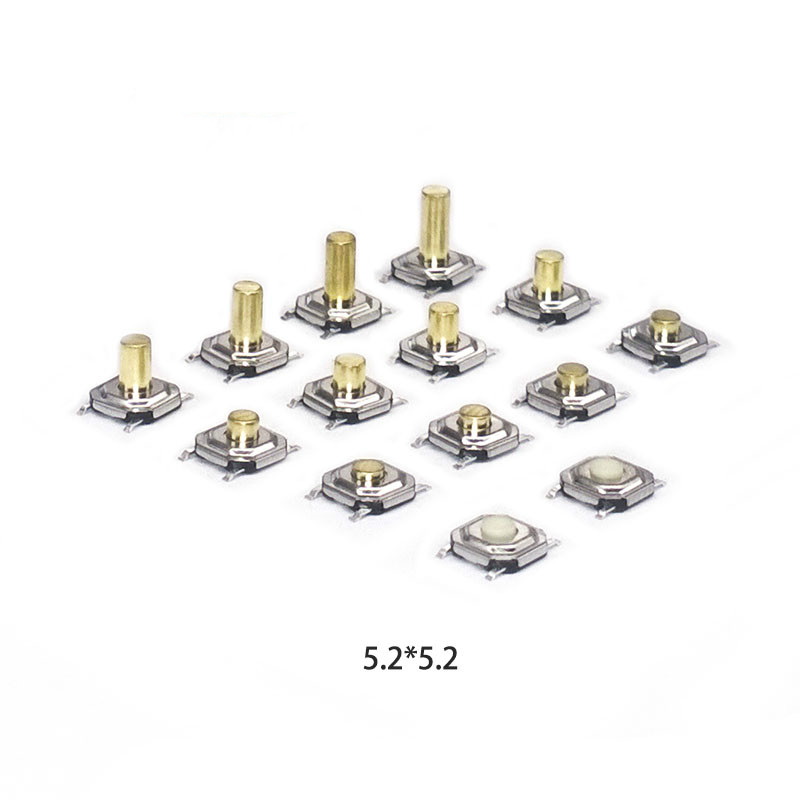 High 1.5-6.0 50 pieces/lot touch tact switch 5.2*5.2 4 PIN Metal Tactile 12V Micro SMT Push Button Switch copper feet