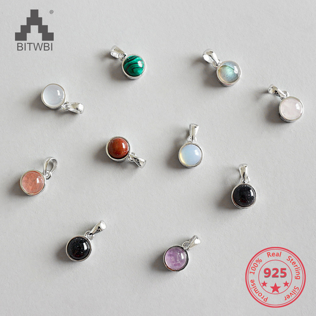 Hot Sale 100% 925 Sterling Silver Customizable Natural Malachite Labradorite Crystal Agate Opal Tigereye Gem Pendants Jewelry 2