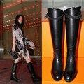 Europa 2015 nuevo invierno ronda plana con botas altas botas de mujer Del Motorista de cuero botas botas de tamaño plana
