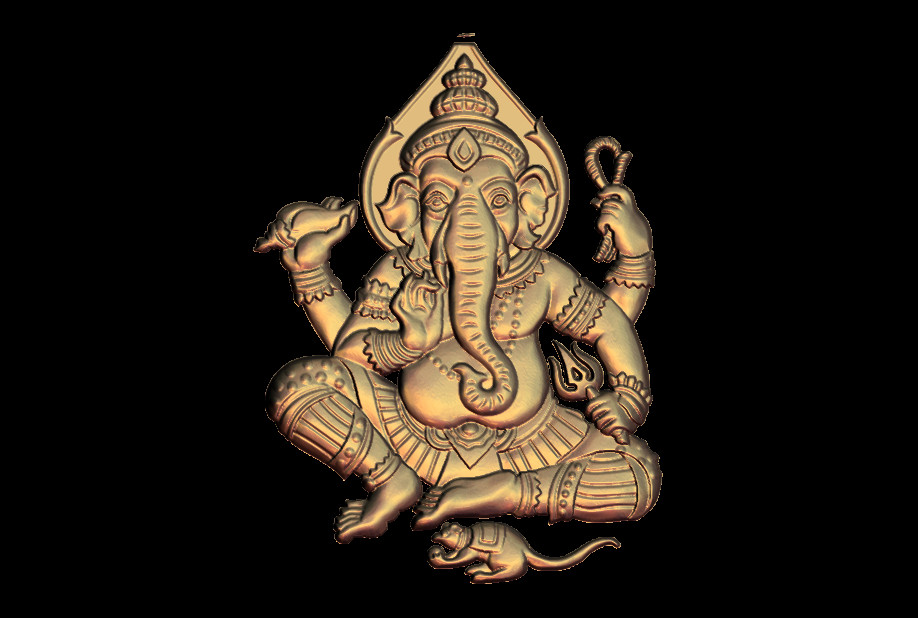 Four Hands Elephant Buddha 3D STL Model For CNC Router Engraver Carving Machine Relief Artcam Aspire M53