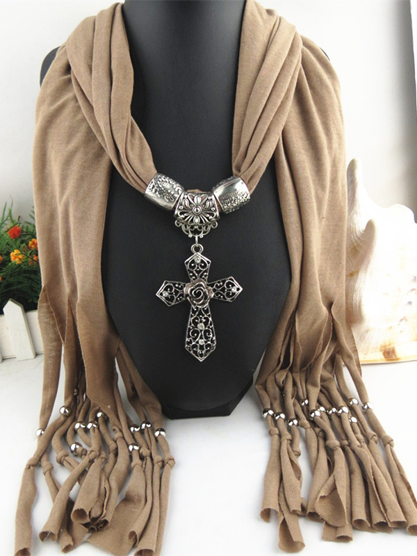 Original Design DIY Cross Pendant Scarf  Autumn Winter Fashion  Women's Pendants  Scarves Luxury Decorations Shawls