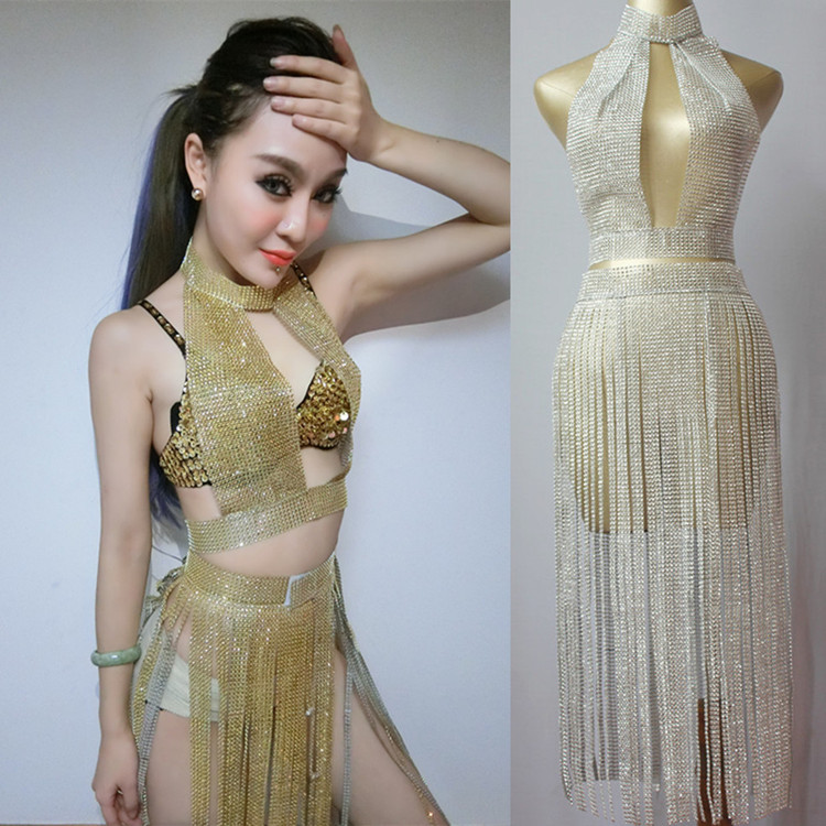 Nightclub Sexy Ladies Bar Girls Perform Costume Set Women Rhinestone Top and Tassel Skirt Silver Gold Purple Two Piece Sets