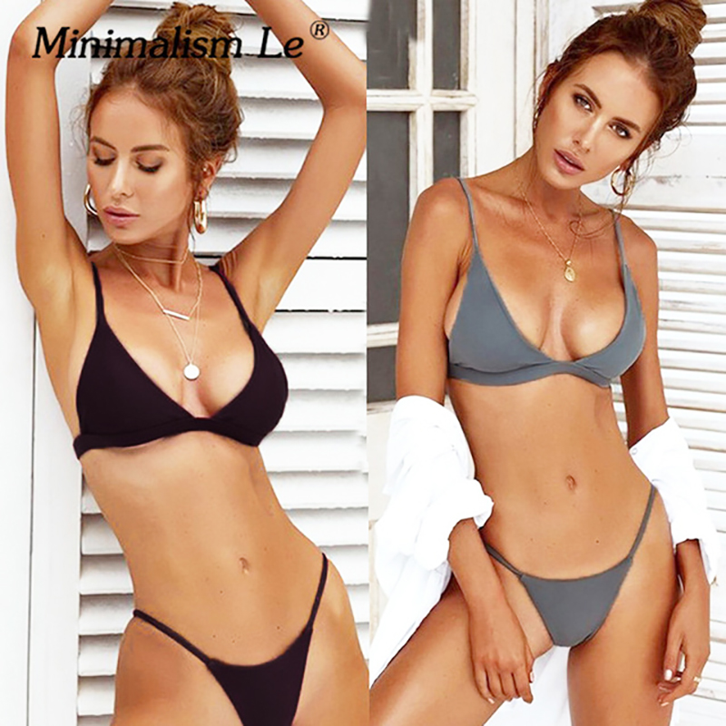 Minimalism Le 2018 Sexy Girl's Swimwear Bikini Sets Thong Swimsuit Micro Bikinis Bathing Backless Suits Halter Top Biquini