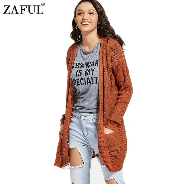 ae089adaea71a ZAFUL Women Autumn Knitted Sweaters Solid Color Casual Cardigans Elastic  Long Sleeve Tops Open Front Ripped Pockets Cardigan