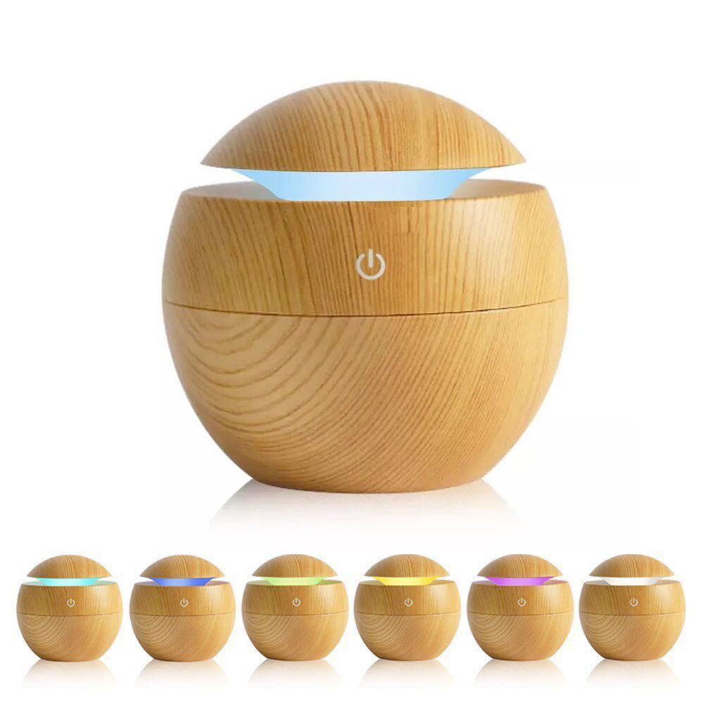 130Ml Air Humidifier Essential Oil Diffuser Wood Grain Aromatherapy Diffusers Aroma Mist Maker 6V Led Light For Home