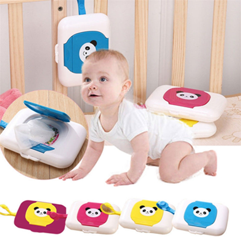 Ourdoor Portable Wet Wipes Tissue Box Cute Baby Wipes Box Plastic Wipes Box For Baby Travel Trolleys Box Dispenser Supplies