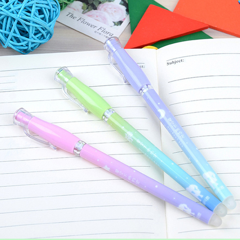 2pcs/set 2018 New Erasable Pen Gel Kawai Gel Pen School Chancery Supply Stationary Cute Funny Stationery 0.38 Blue